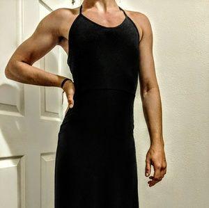 Sexy backless black maxi